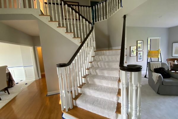 Staircase railing painting in eagle creek IN